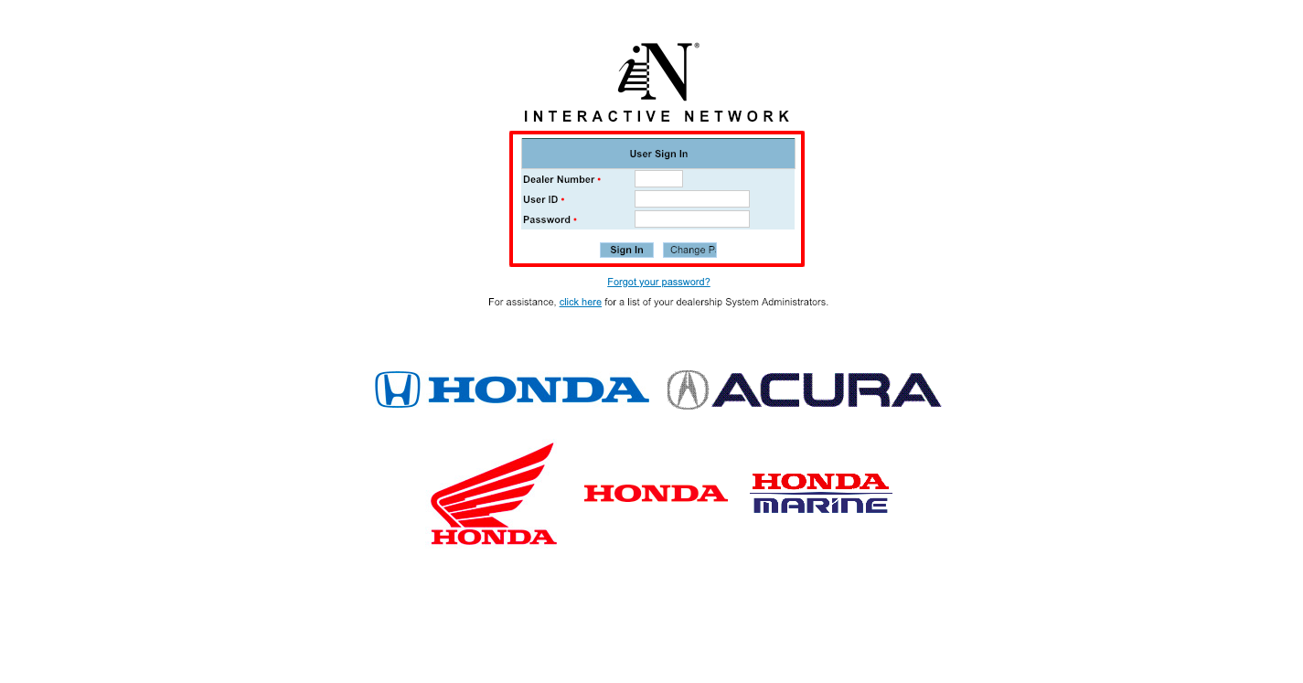 Honda Interactive Network Sign In