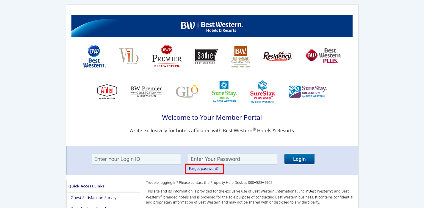 My Best Western Portal Login