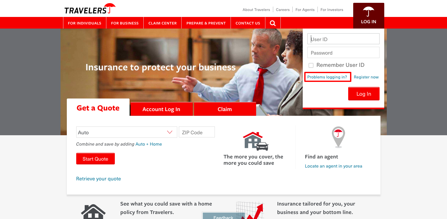 travelers insurance agent login