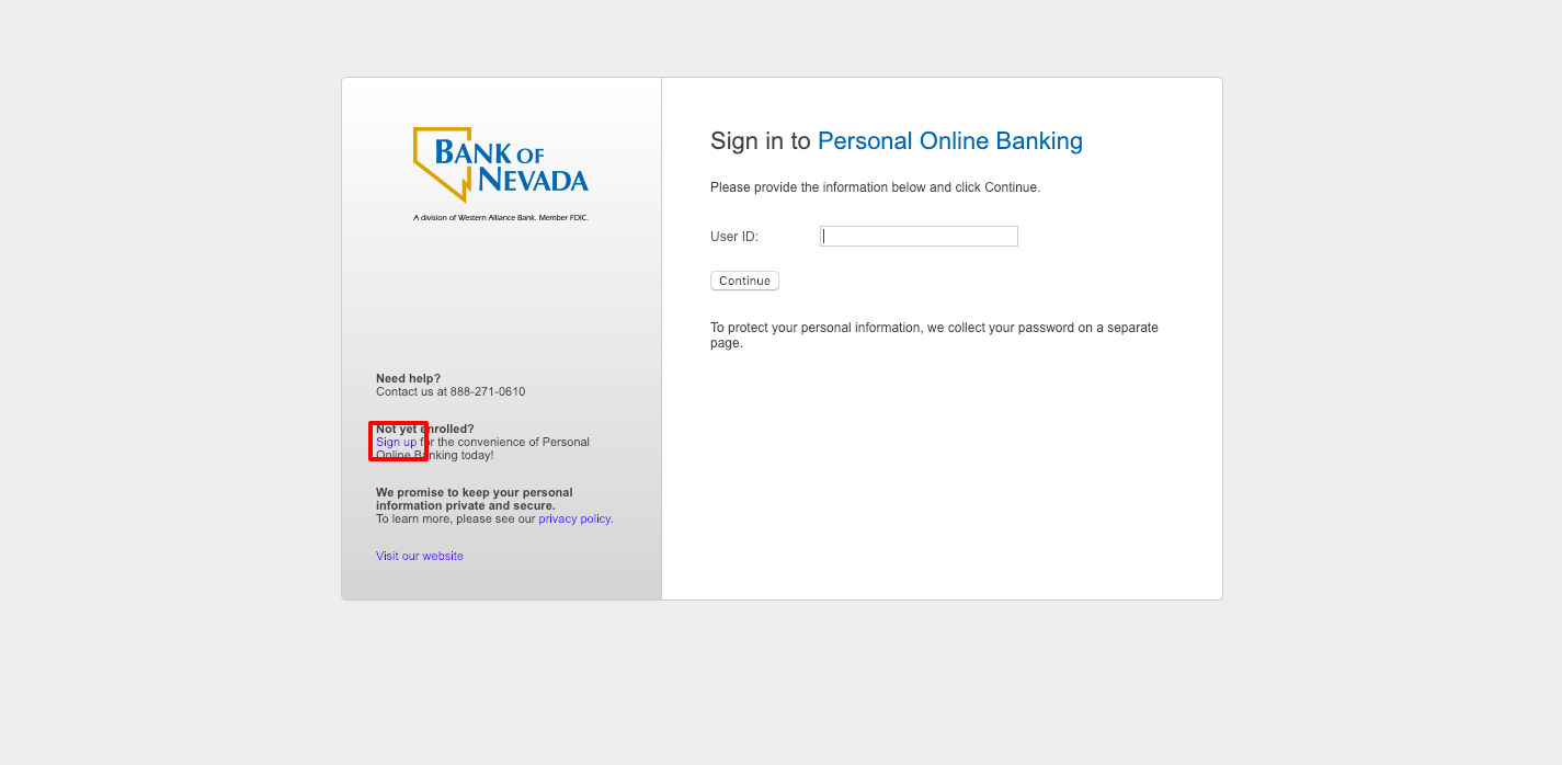 Bank of Nevada Login