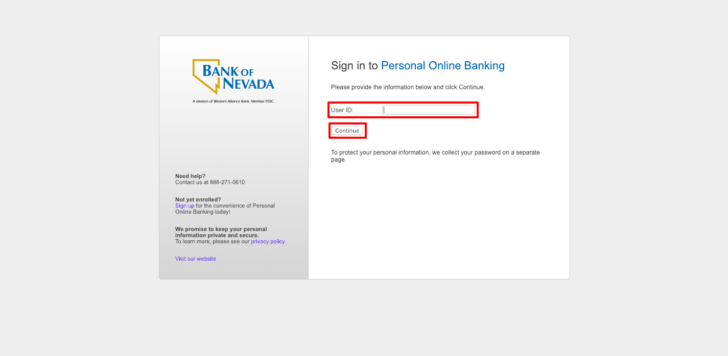 Bank of Nevada Online Banking Login