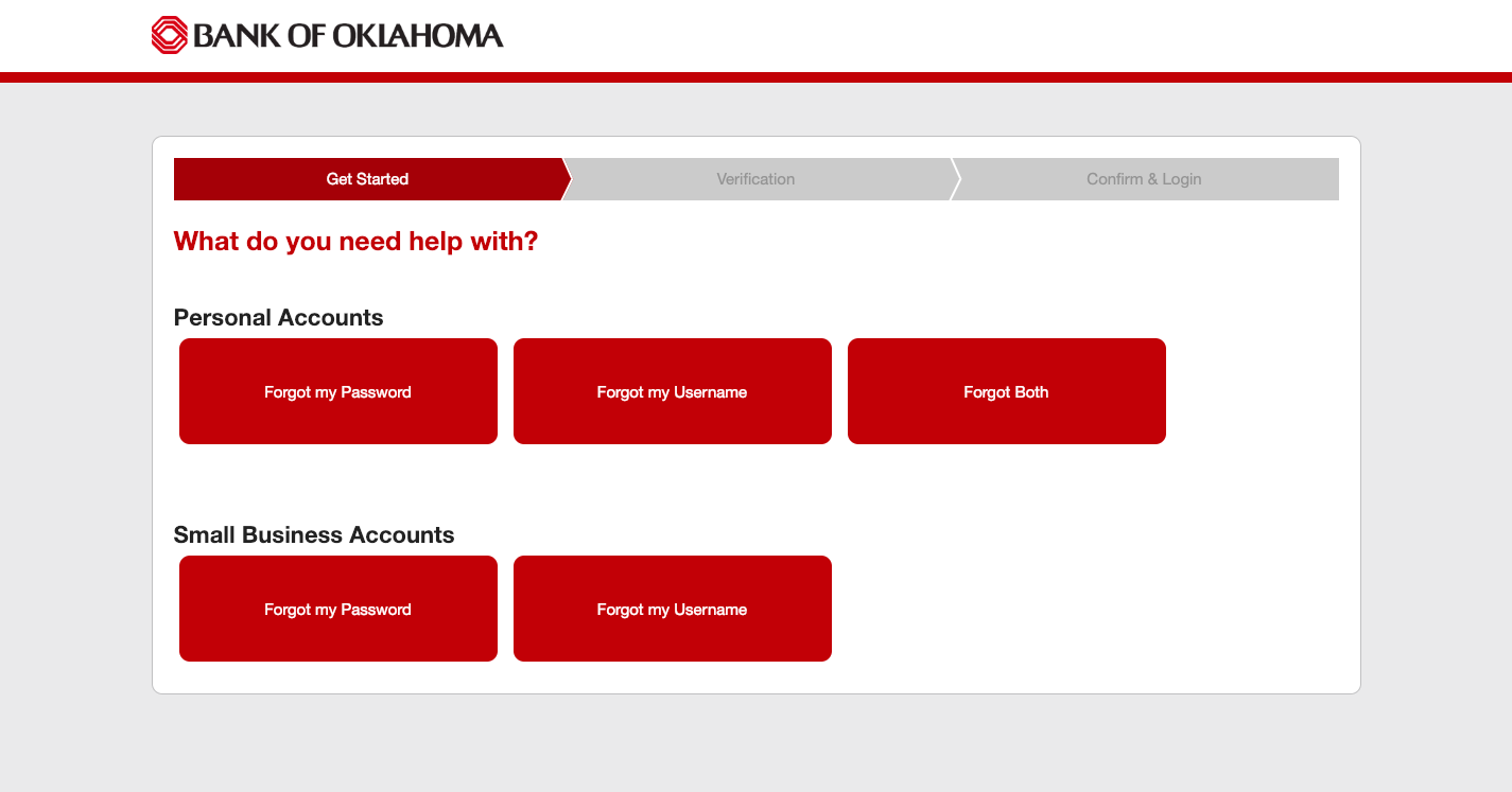Bank of Oklahoma Login Help