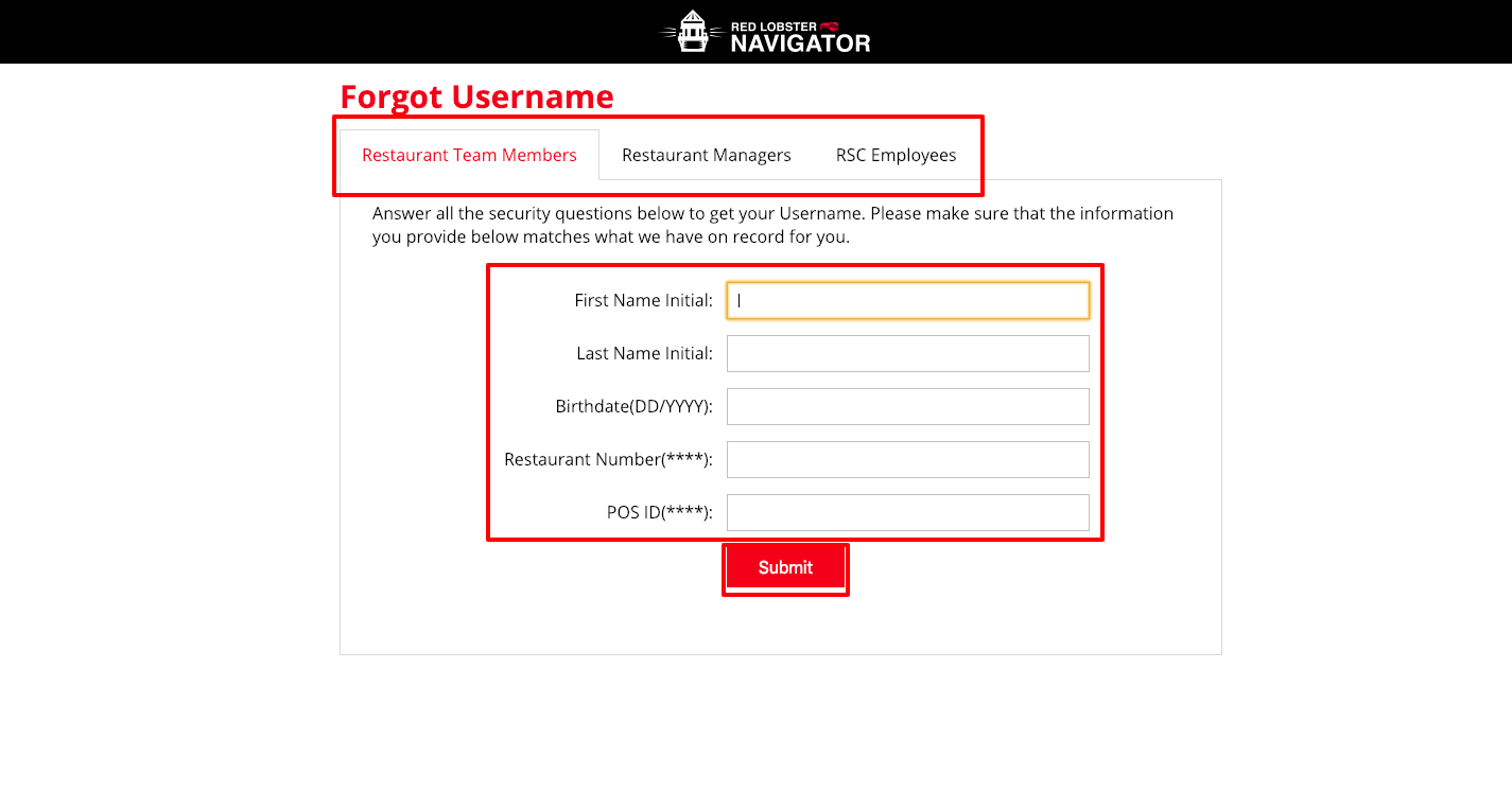 red lobster portal navigator employee login