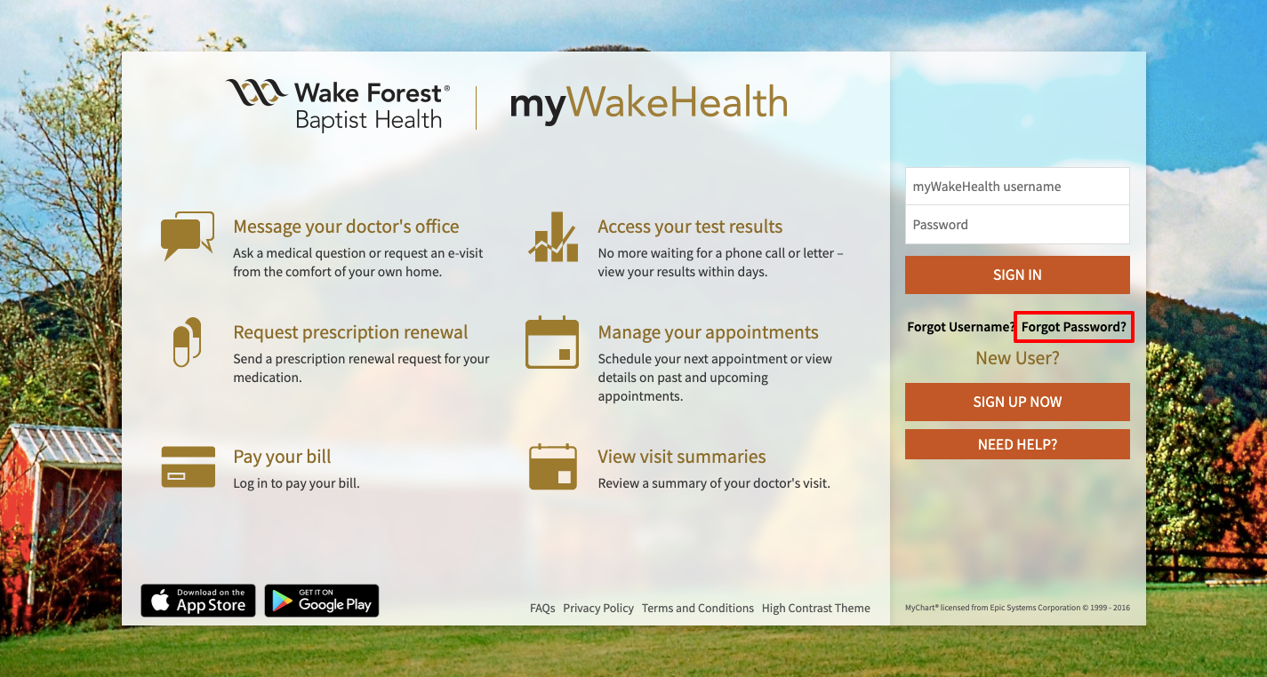 My Wake Health Portal Login
