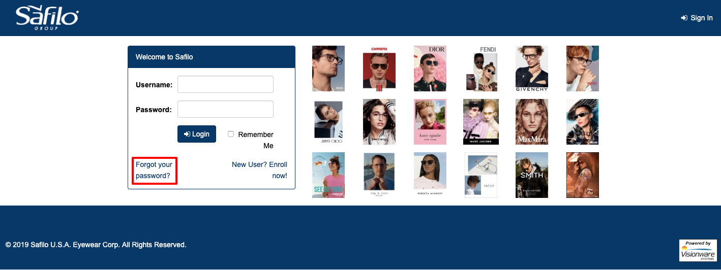 Safilo EyeWear User Account Login