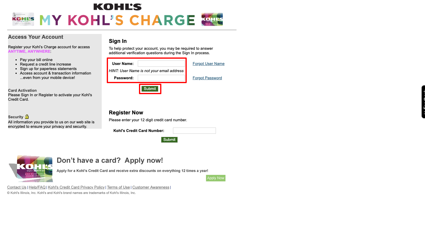Kohl's Charge Login