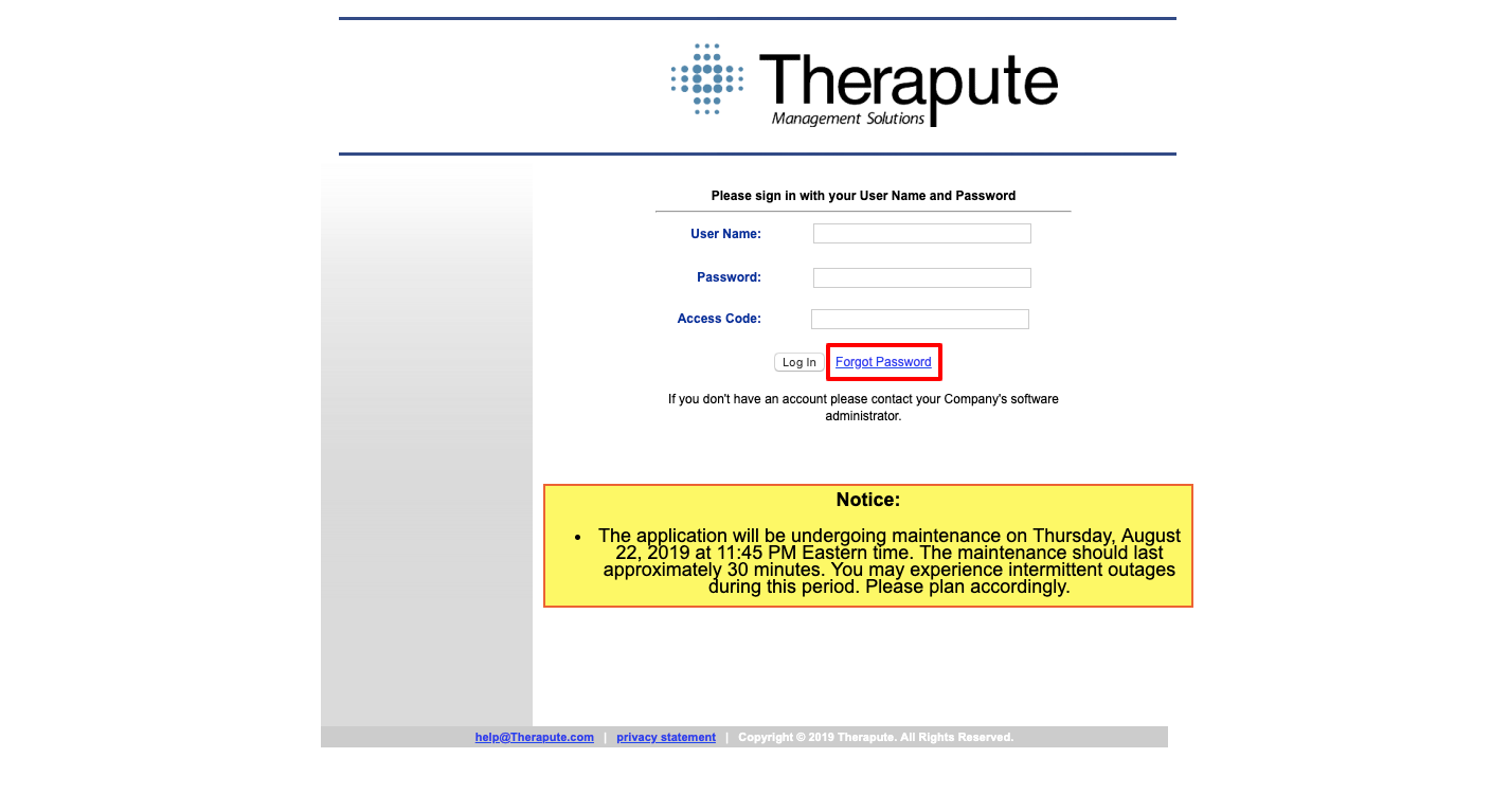 Therapute online login