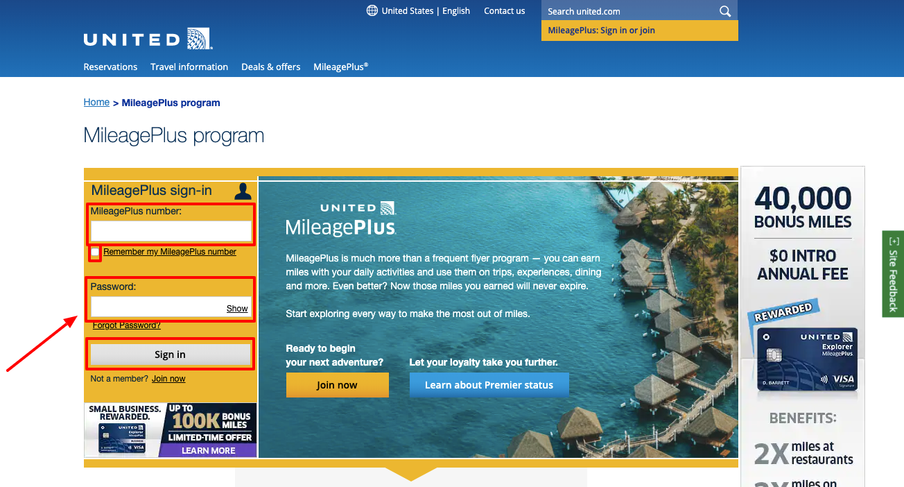 United Airlines Mileage Plus Login