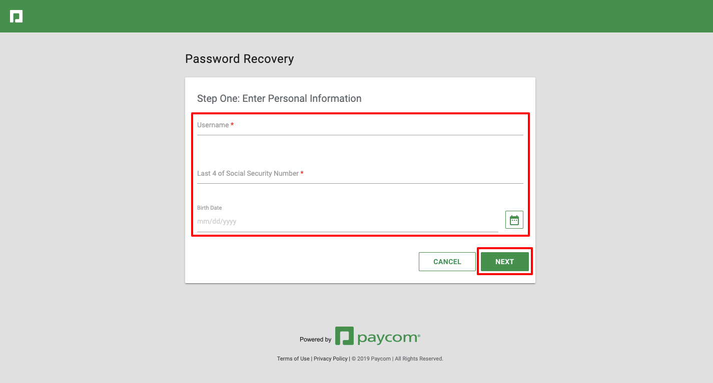 paycom password reset