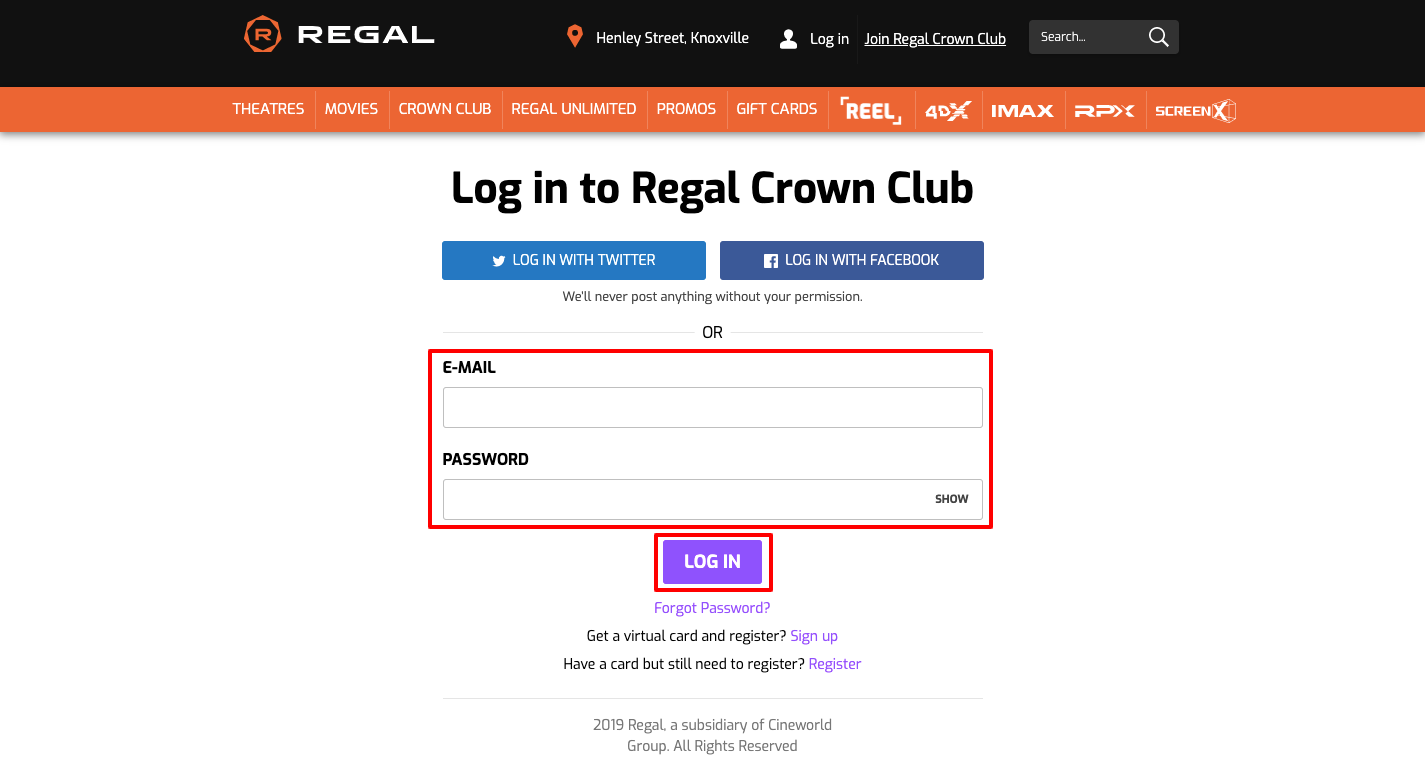 regal crown club sign in
