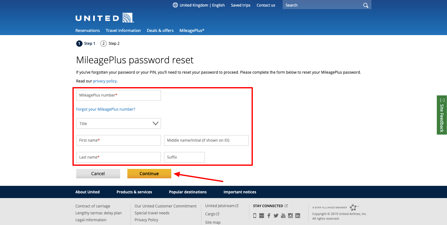 united airlines mileageplus forgot password
