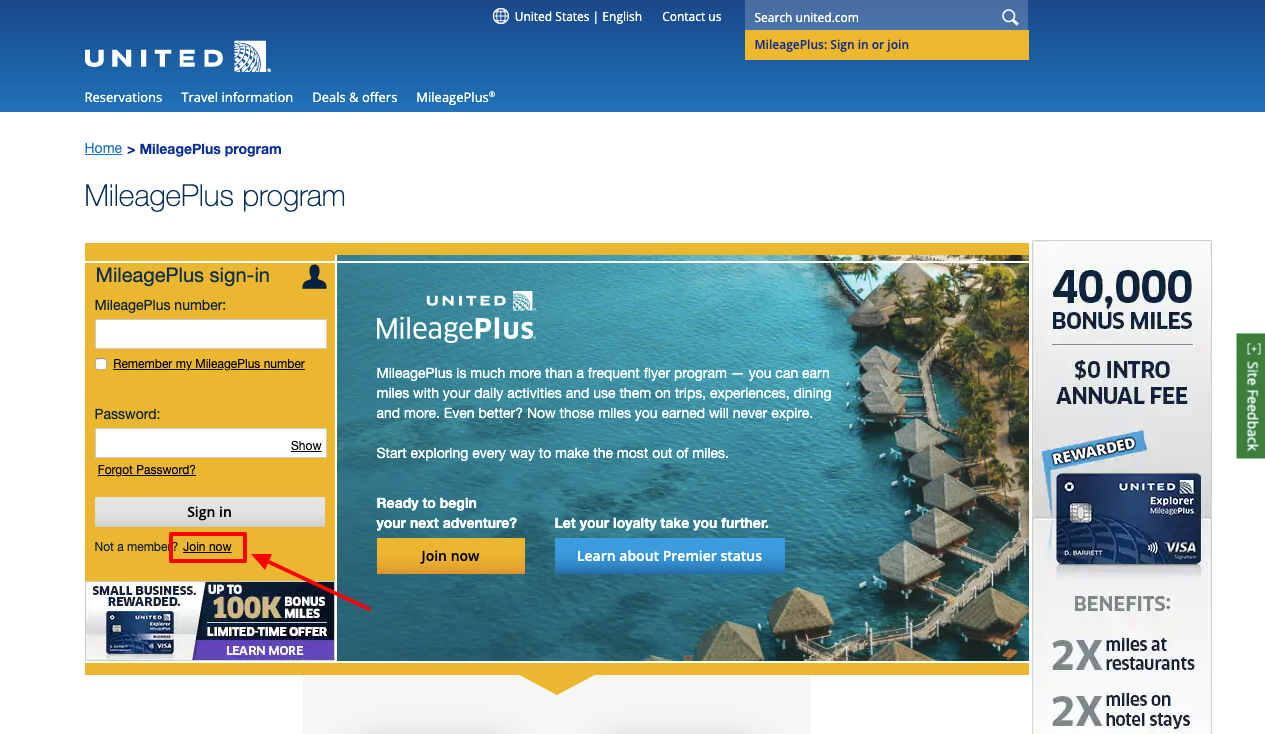 united airlines mileageplus sign up