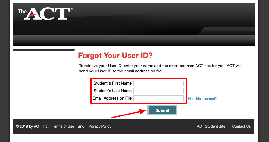 ACT Student Forgot User ID