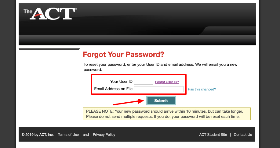 ACT Student forgot password