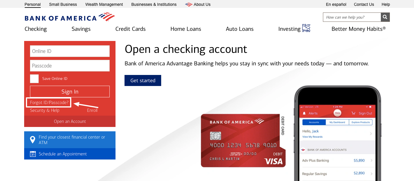 Bank of America forgot password