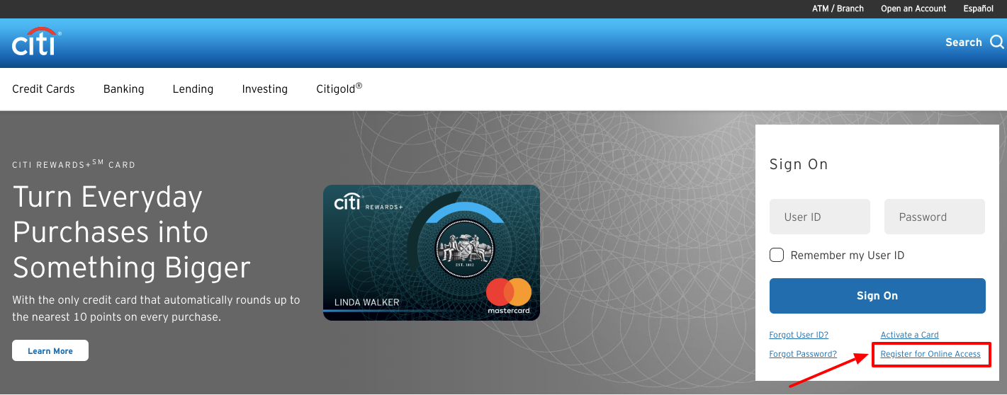 CitiBank Online Banking register