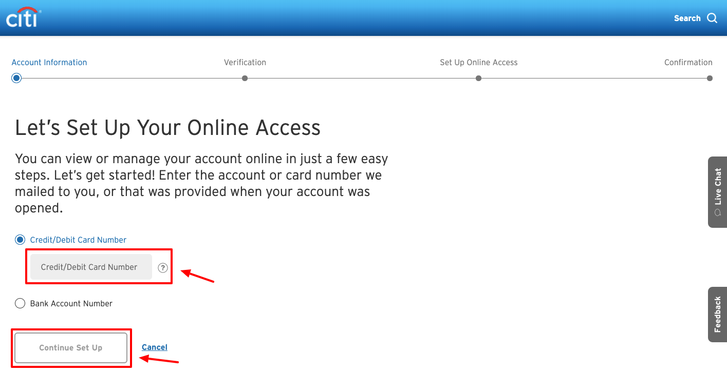 CitiBank Online account sign up
