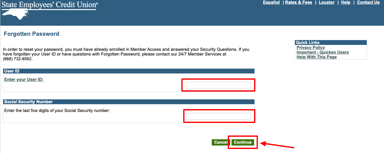 ncsecu Login forgotten password