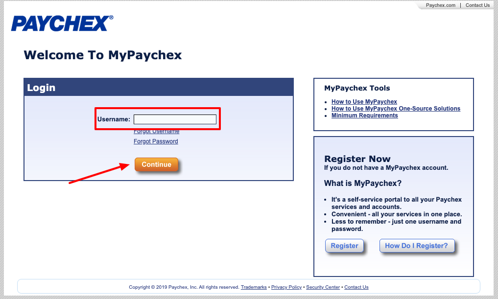 paychex forgot username