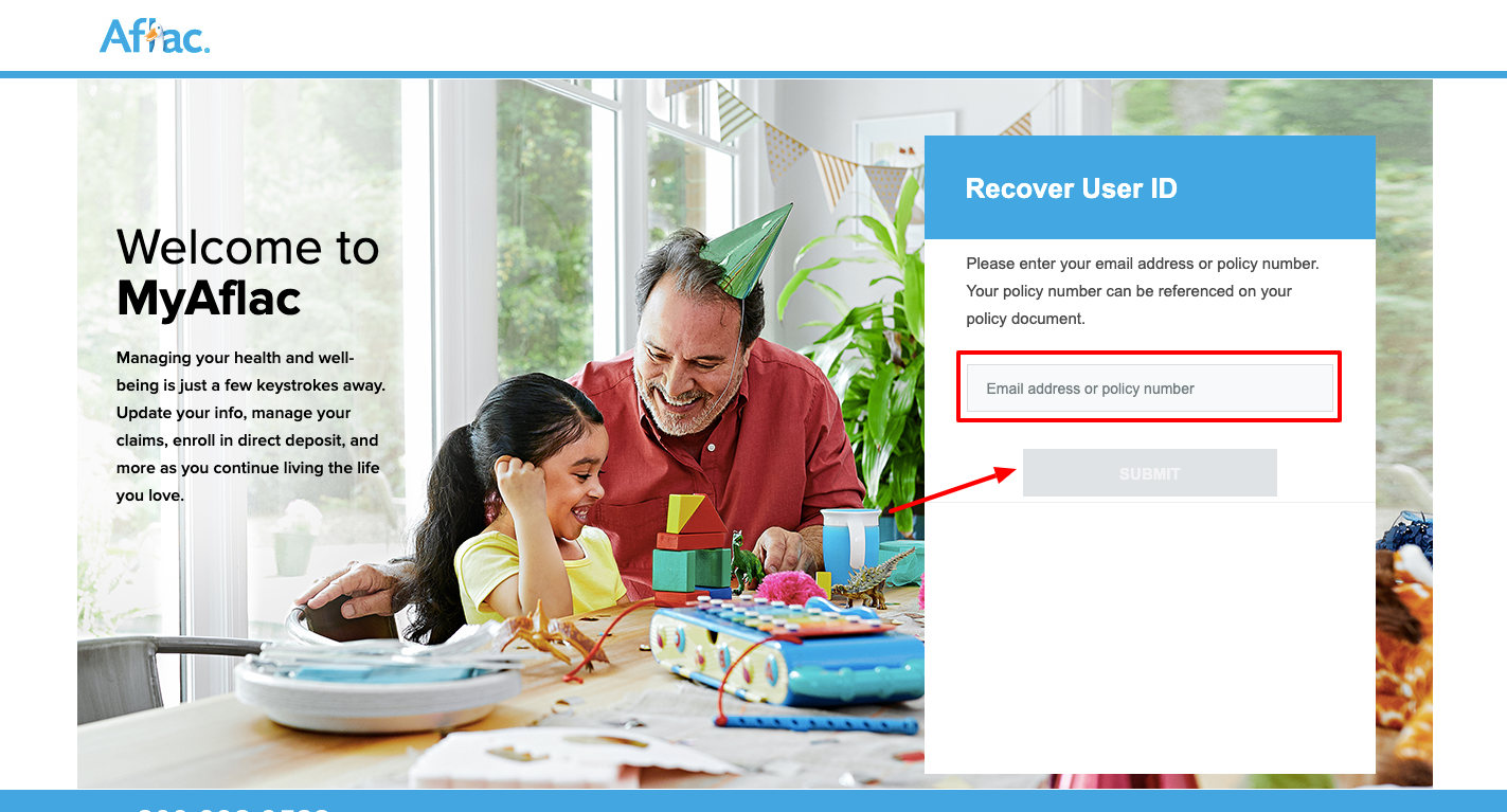 aflac forgot user id