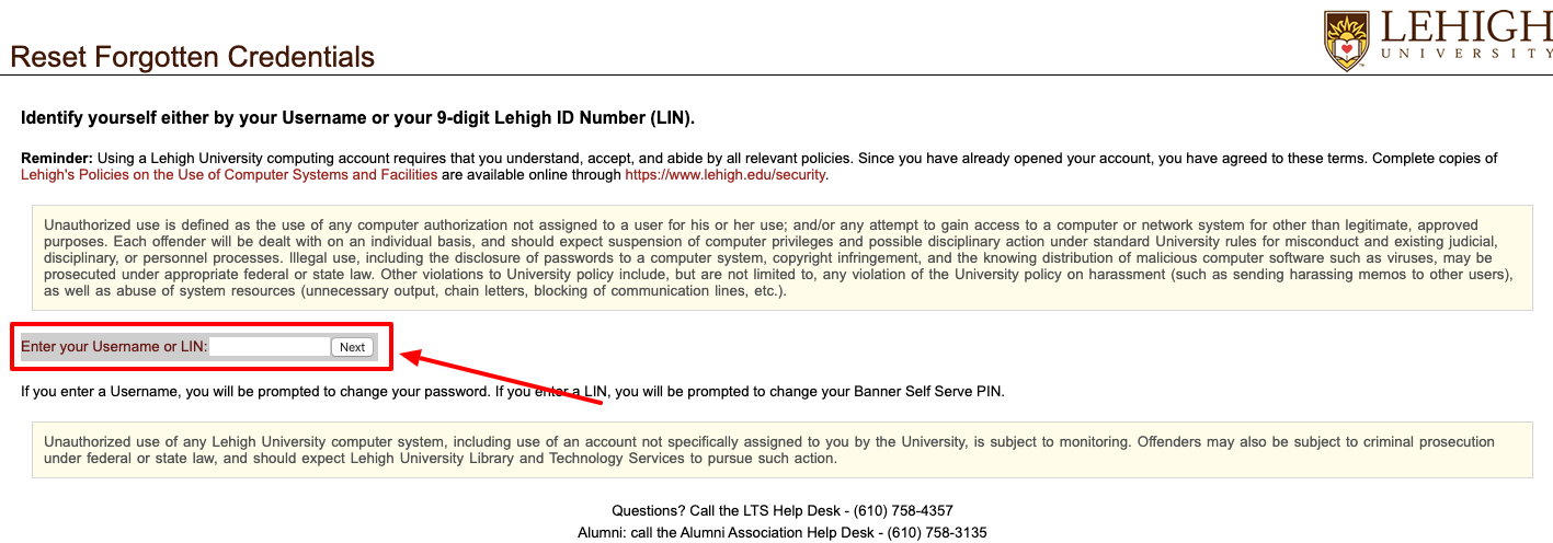 lehigh university student portal forgot password