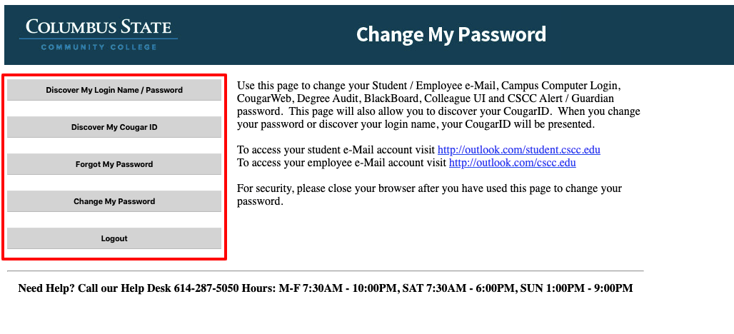 Columbus State Student Password Change