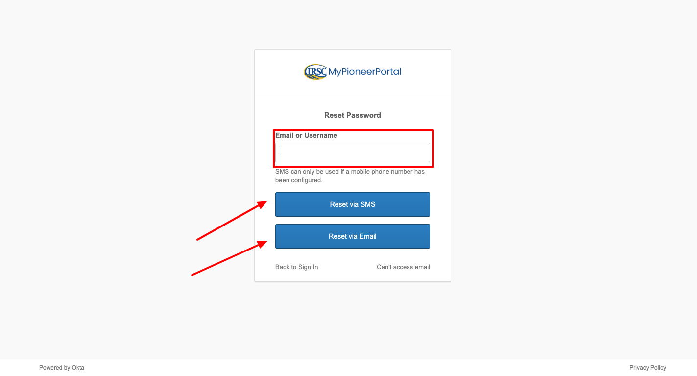 irsc blackboard reset password