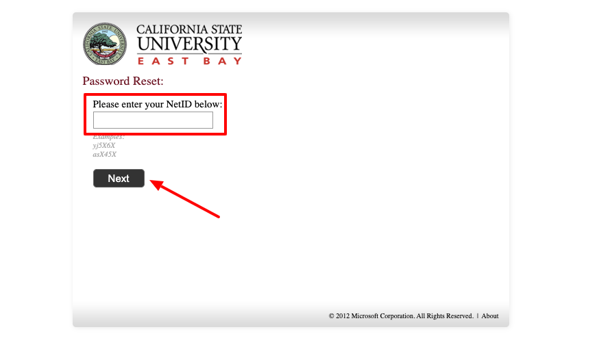 California University East Bay Self-Service Password Reset