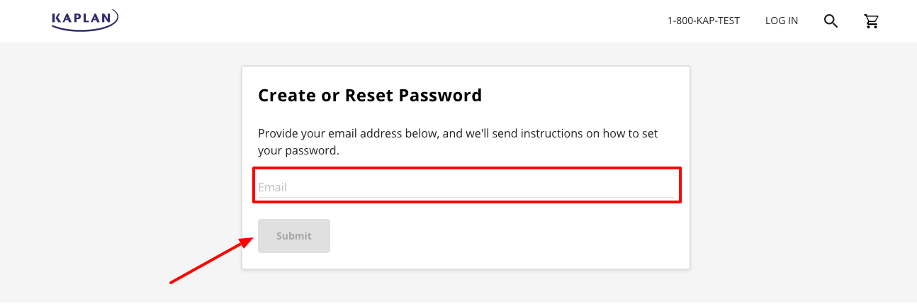 Kaplan forget password