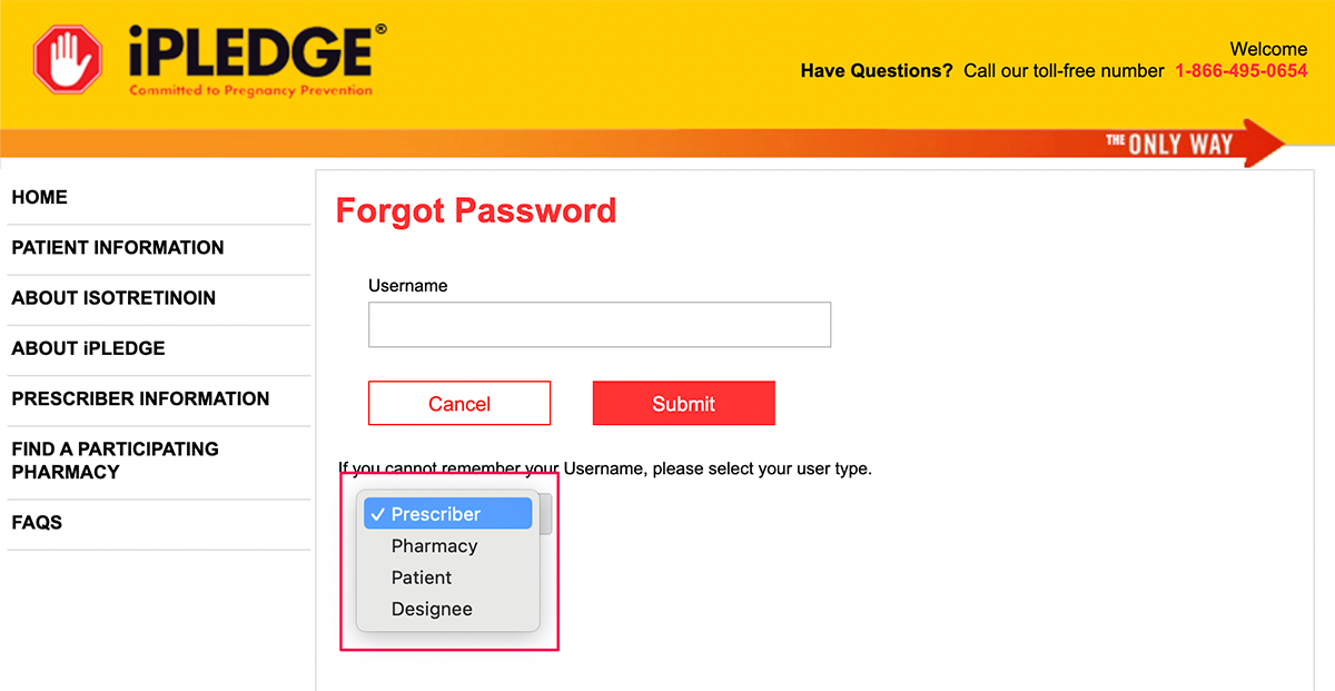 Forgot iPledge REMS login username