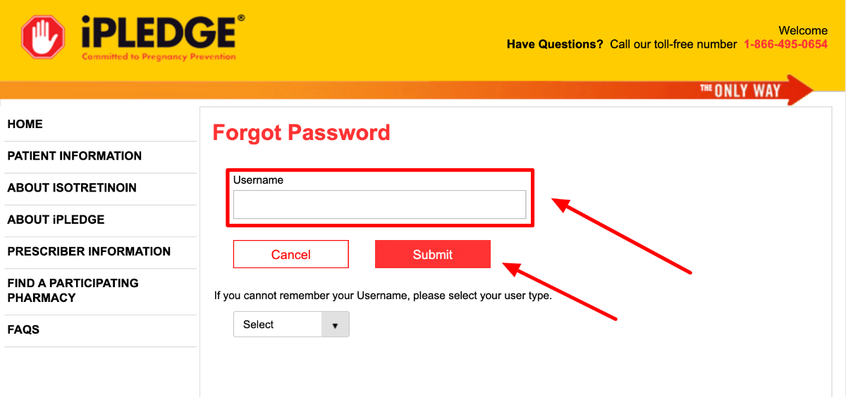 iPledge REMS Forgot Password