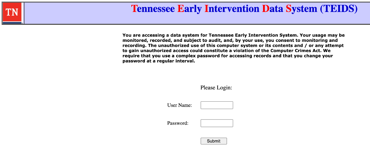 Tennessee Early Intervention Data System